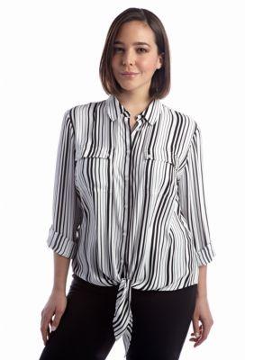 Jones New York Signature  Plus Size Tie Front Striped Blouse