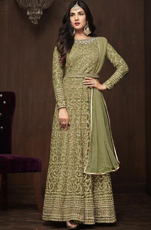 504daf0894 Olive Green Designer Embroidered Net Wedding Bridal Anarkali Suit – Saira's  Boutique