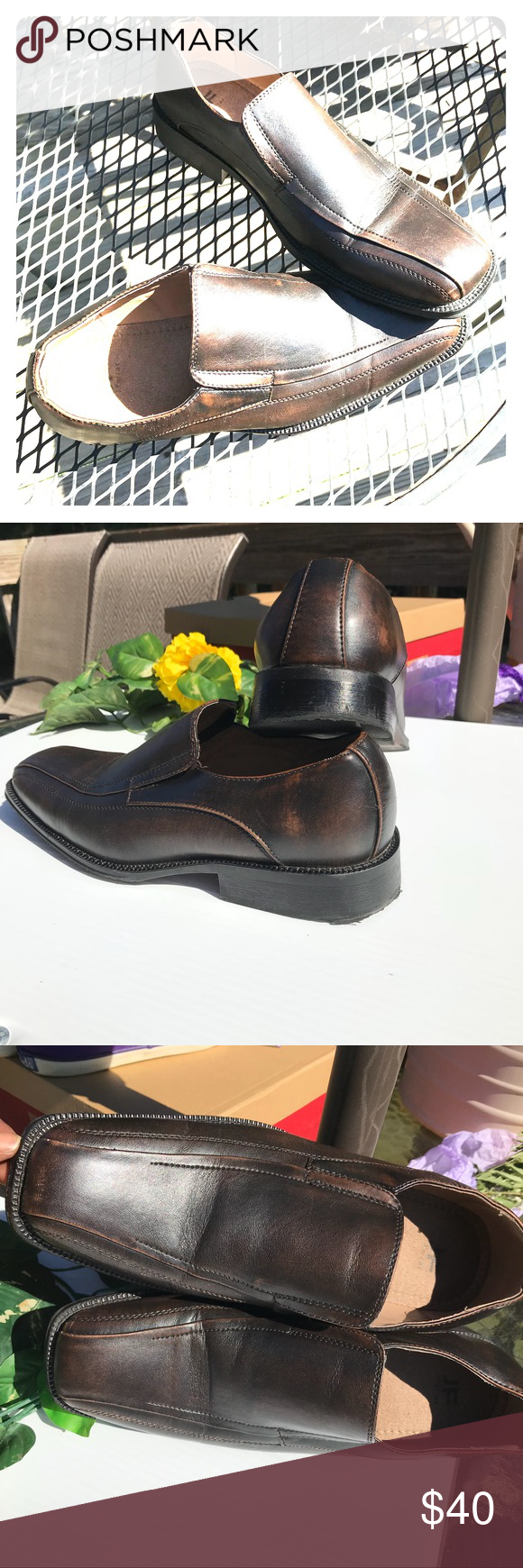 0029203c5edc J. Ferrar Brown Men Slide-on Loafer Shoe Size 8 J. Farrar Brown Men  Business shoe size 8. Shoes are preowned but only worn twice for a wedding  and ...