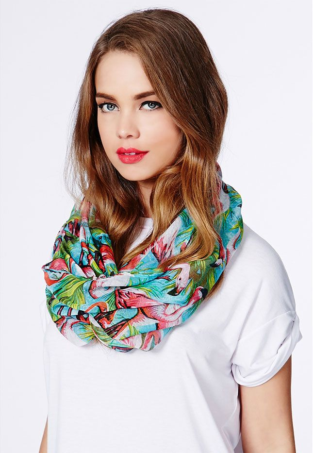 Spice up a white tee with this flamingo-printed scarf.