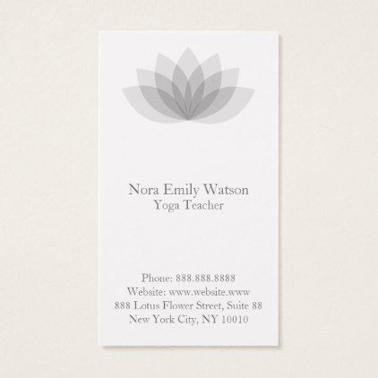 Elegant And Simple Lotus Flower Business Cards Clear Clean Design Style Unique Diy