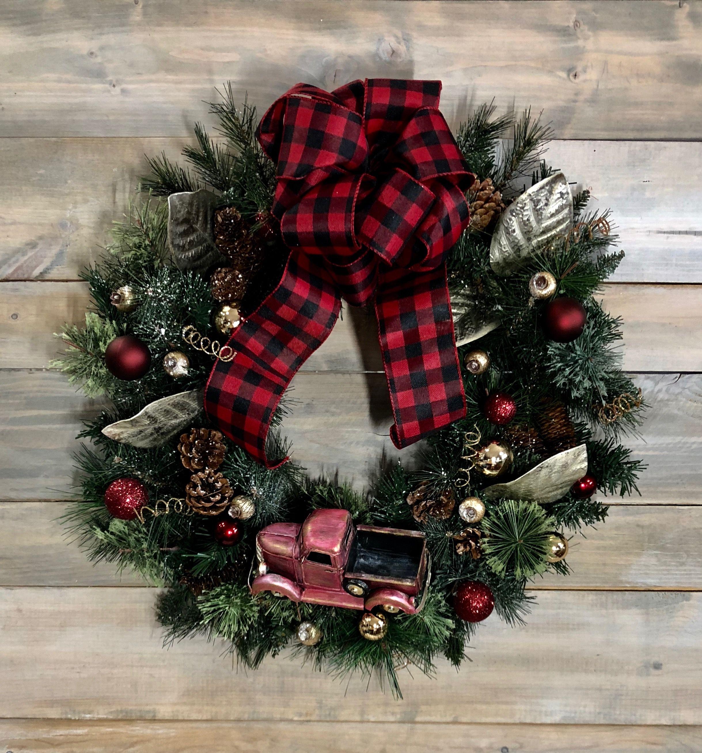 Xl Vintage Red Christmas Wreath Etsy Com Shop Celebrationsdesignco Free Shipping High Demand