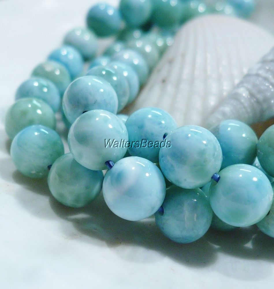 Dominican Larimar Light Blue Gemstone Round Bead Strand 7.5 MM 16