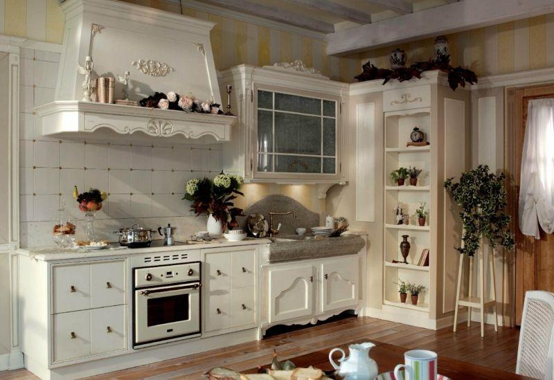 kueche landhausstil franzoesisch weiss ornamente kochbereich - küche landhaus weiß