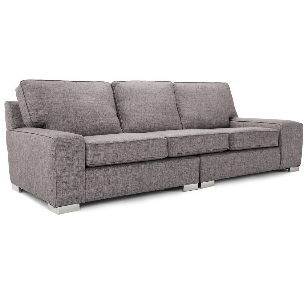 4 Seater Sofa Fabric Grey Contemporary Cushion Furniture Chrome Feet Couch Large