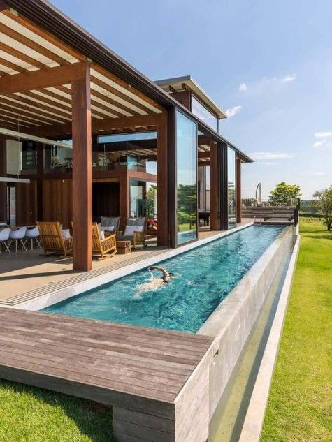 26 Narrow Pools You Ll Never Want To Leave Comfydwelling Com Narrow Pools Narrowpools Lap Pool Designs Swimming Pool Designs Small Backyard Design