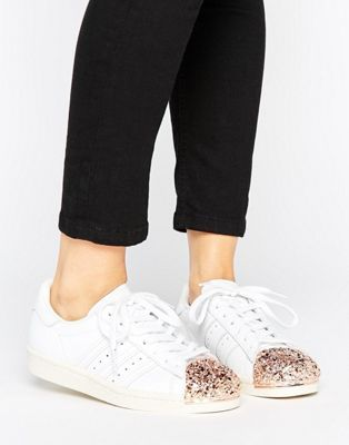 adidas Originals White Superstar 80S Sneakers With Rose Gold ...