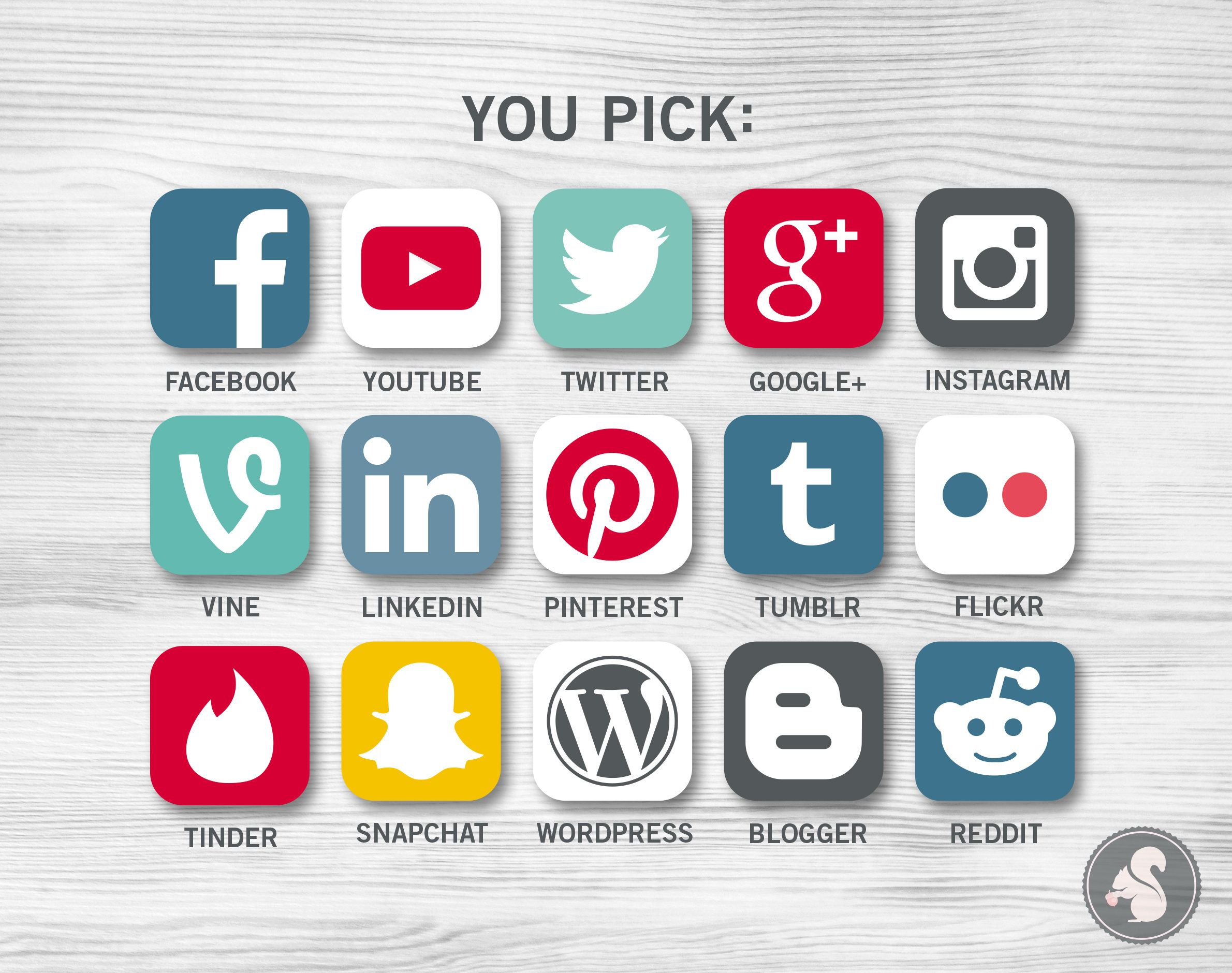 Social Media Icons Planner Stickers facebook twitter