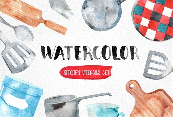 Watercolor Kitchen Utensils Set Kitchen Utensil Set