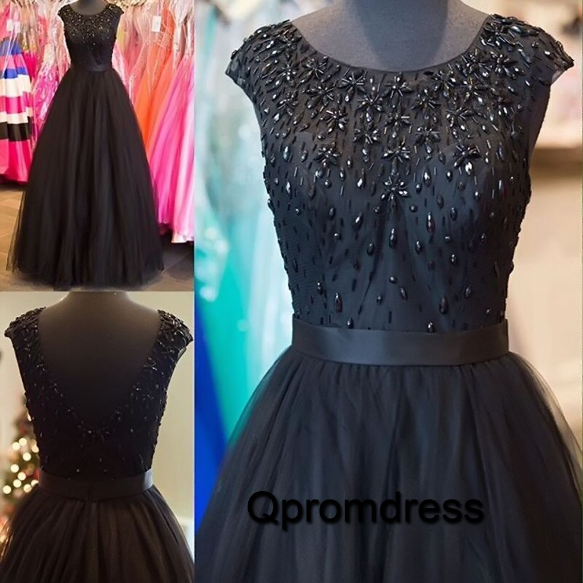 Beautiful black tulle prom dress for 2016, ball gown for teens, prom ...