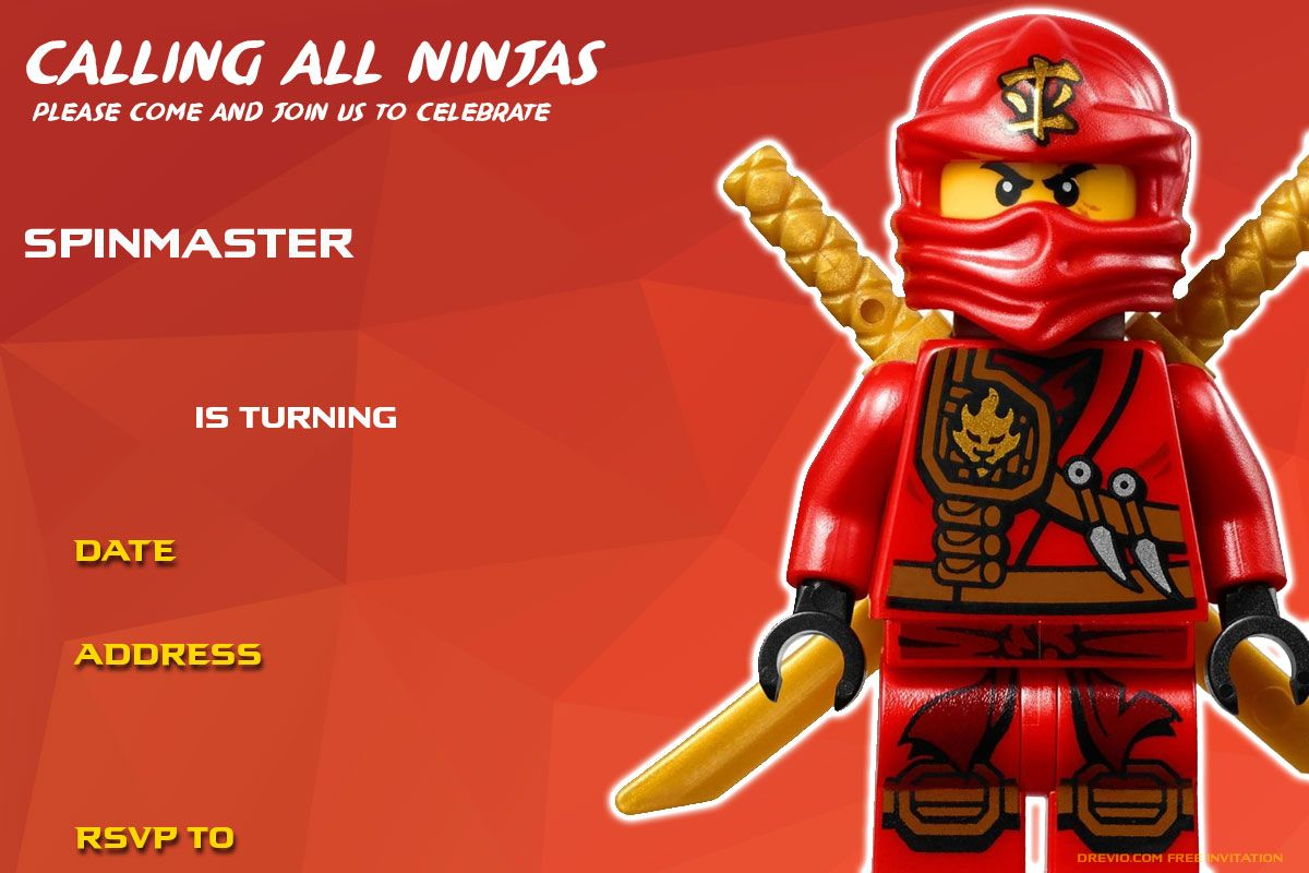 Free Printable Lego Ninjago Birthday Invitation | Free Printable ...