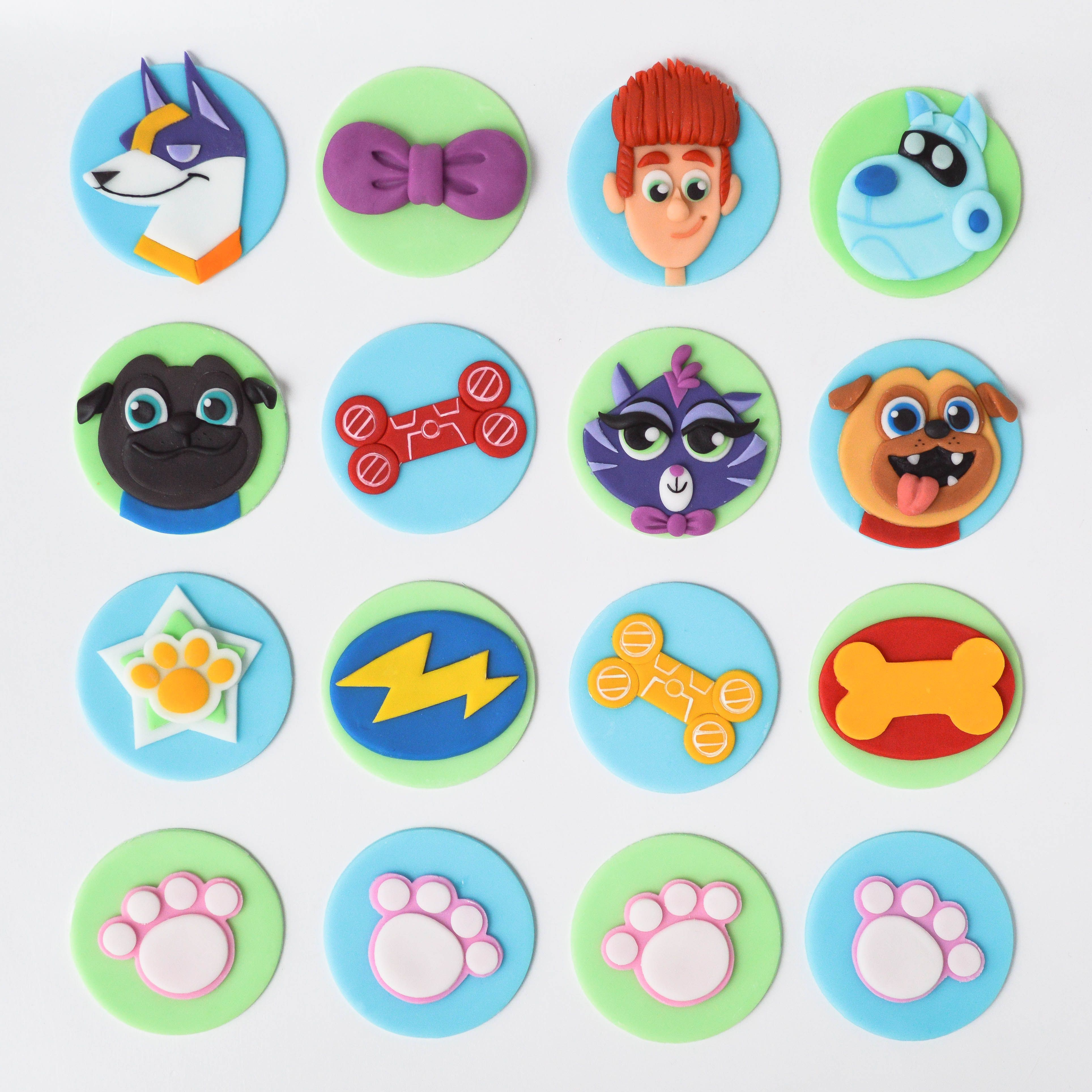 Puppy Dog Pals Themed Fondant Cupcake Toppers Puppy Birthday Parties Puppy Birthday Cakes Puppy Birthday