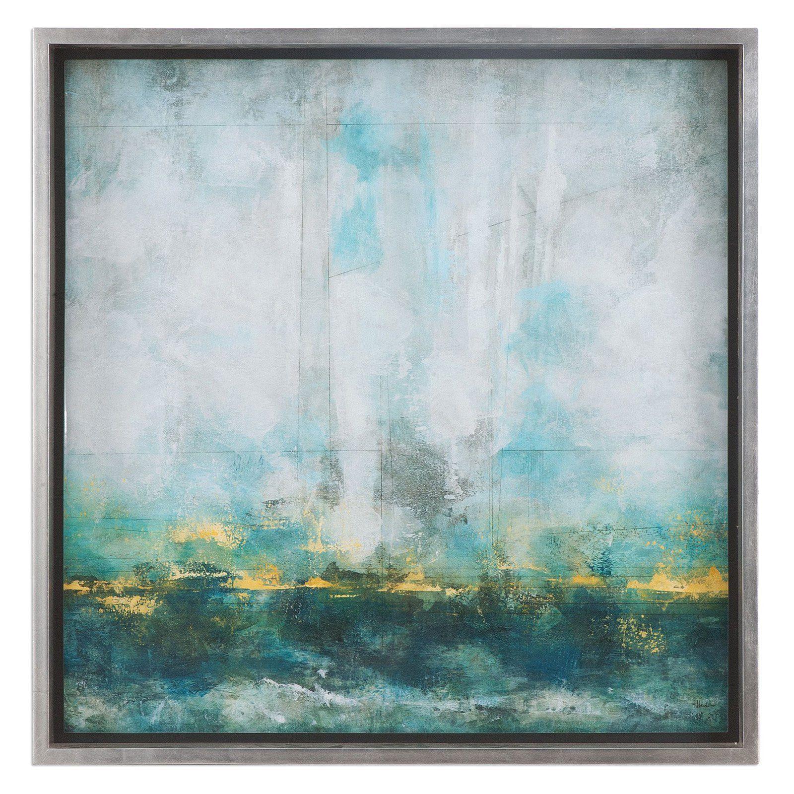 Uttermost aqua blue abstract wall art from hayneedle mid