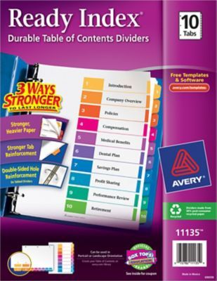 Avery Ready Indextable Of Contents Dividers For Laserinkjet