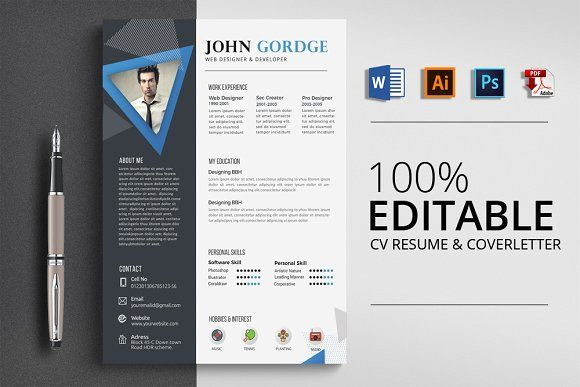 CV Resume Word Format Resume words, Template and Psd templates
