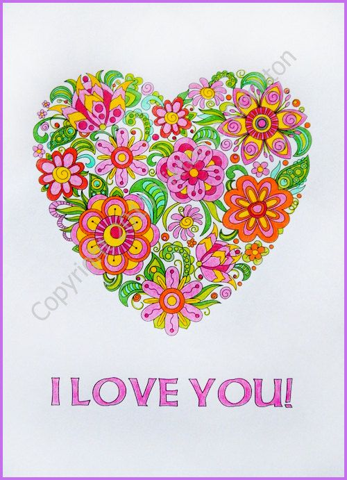 Adult Coloring Page Doodle Flowers I Love You By ZentangleHouse