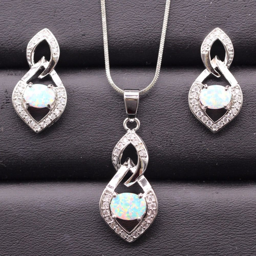 Opal set jewelry shine zircon ladies jewelry for women anniversary