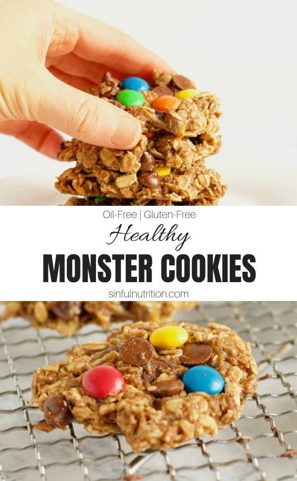 Monster Cookies This Healthy Monster Cookie recipe takes just 8 ingredients to make, with no added flour, sugar, or oils! | @sinfulnutrition | | | | |This Healthy Monster Cookie recipe takes just 8 ingredients to make, with no added flour, sugar, or oils! | @sinfulnutrition | | | | |