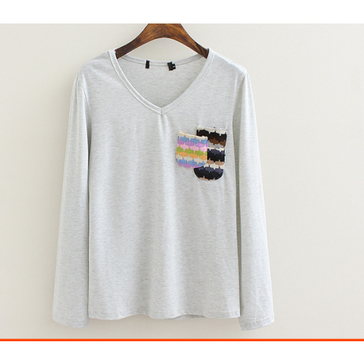 بلوزة قطن زيتي بكم طويل Fashion Blouse Sweaters