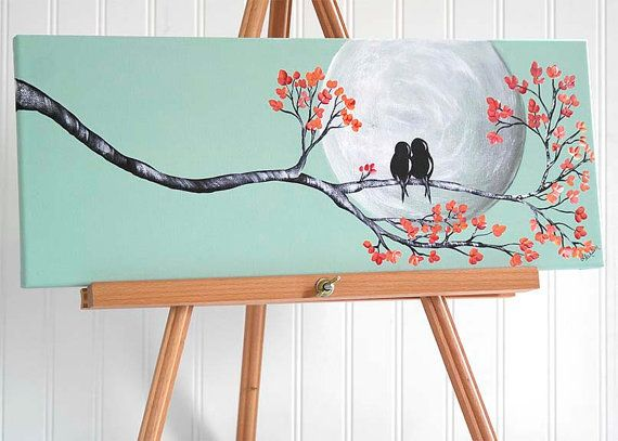 original canvas painting love bird painting mint and coral wedding gift for couple love birds