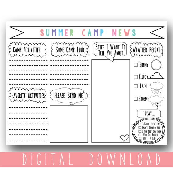 graphic about Printable Fill in the Blank Camp Letters referred to as Printable Lady Summertime Camp Stationary / Printable Fill in just