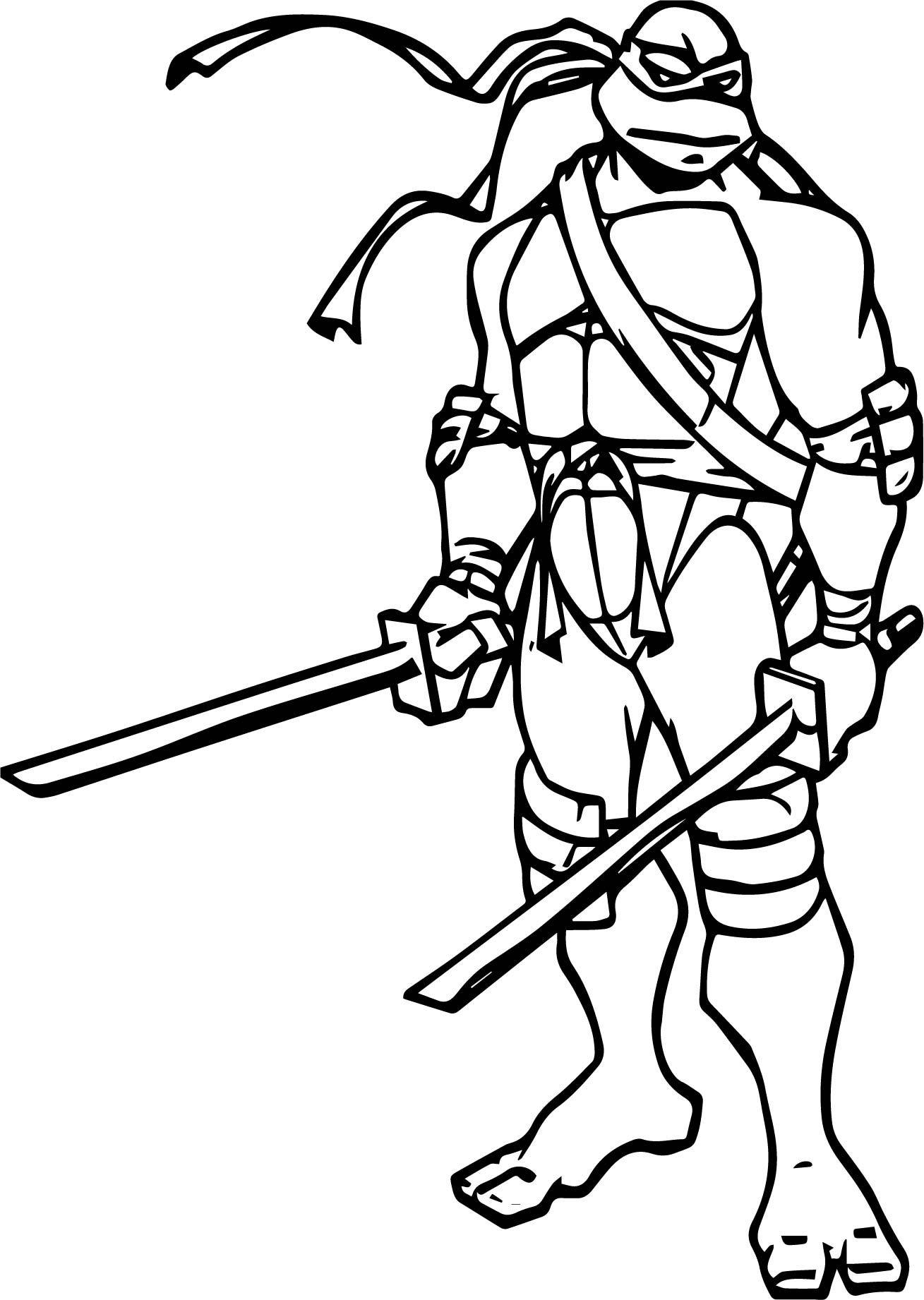 Ninja Turtle Two Blade Leonardo Coloring Page Wecoloringpage