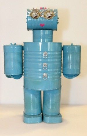 Making a Tin Can Robot - Tin can robots, Recycled tin cans, Tin can, Recycled tin, Household items, Tin can crafts - This is a guide about making a tin can robot  This is a great recycle project for you and the kids to make together
