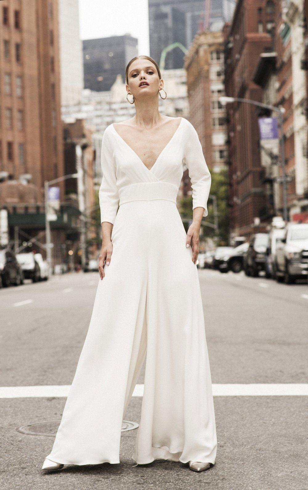 andrea hawkes mila - bridal palazzo pants / bridal jumpsuit