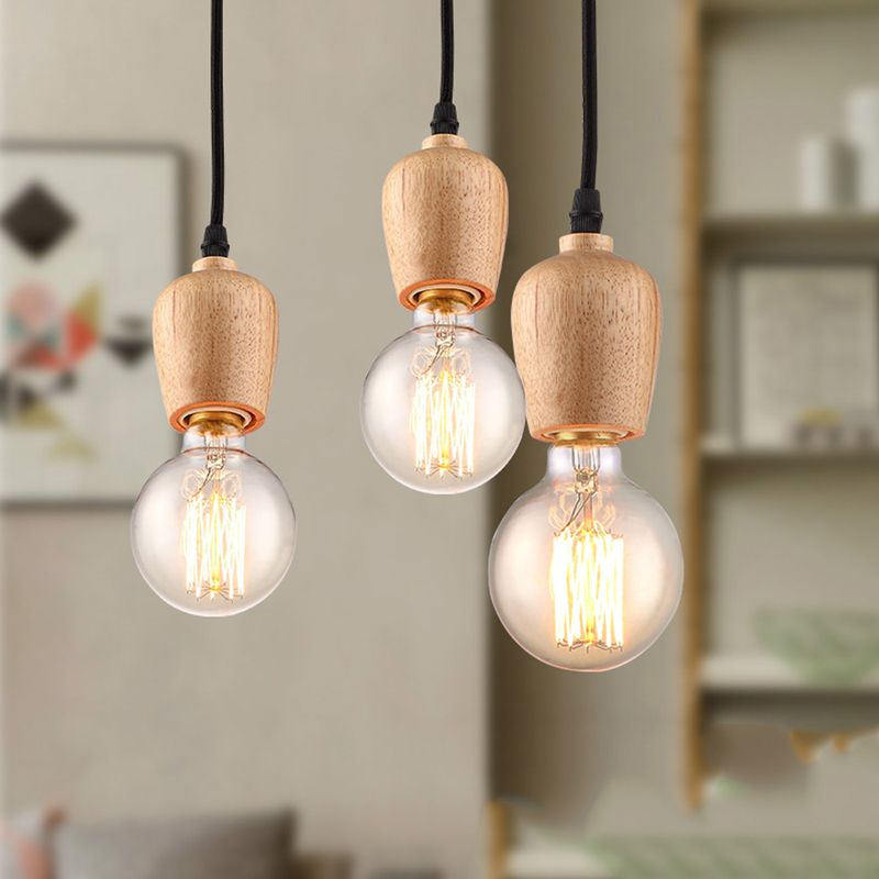 Modern Wood Lighting Home Decro Hanging Light Edison Bulb Vintage Loft Lamp  Shade Minimalist Luminaire Kitchen