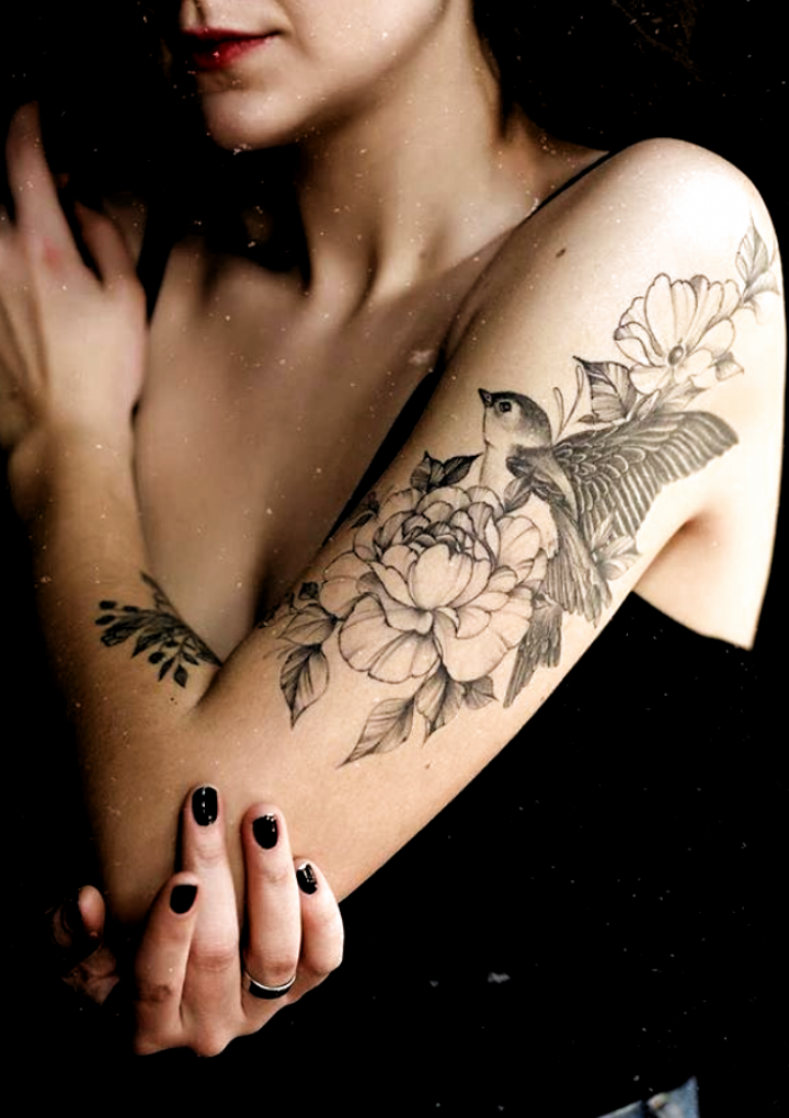 inspirational sleeve tattoos ideas for woman, peony tattoo,pretty sleeve tattoo,unique sleeve tattoo