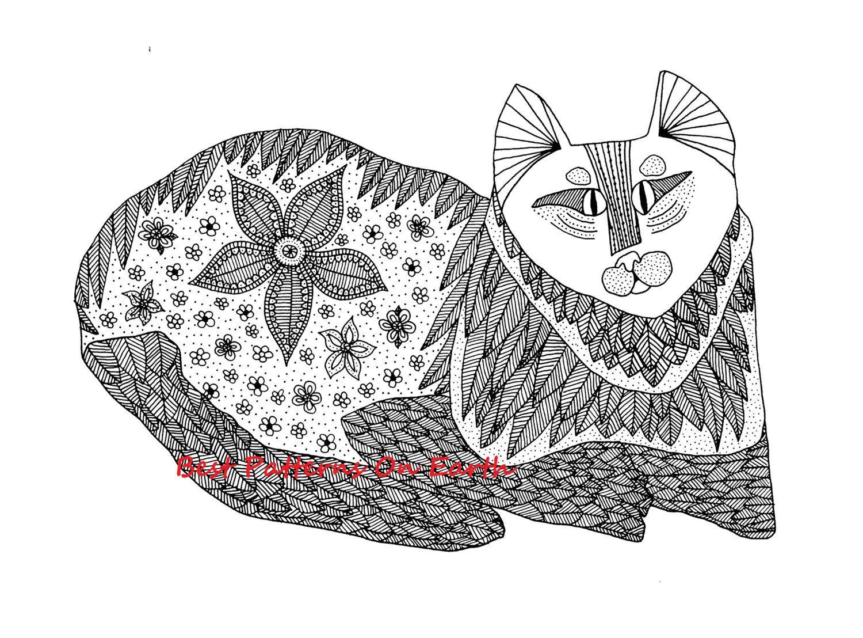 Etsy Listing 169760893 Cat Coloring Page Zen Hippy Trippyrefmarket