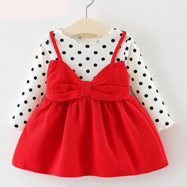 2d32493bd Bear Leader Baby Girls Dress Black and White Stitching Sleeve Small ...