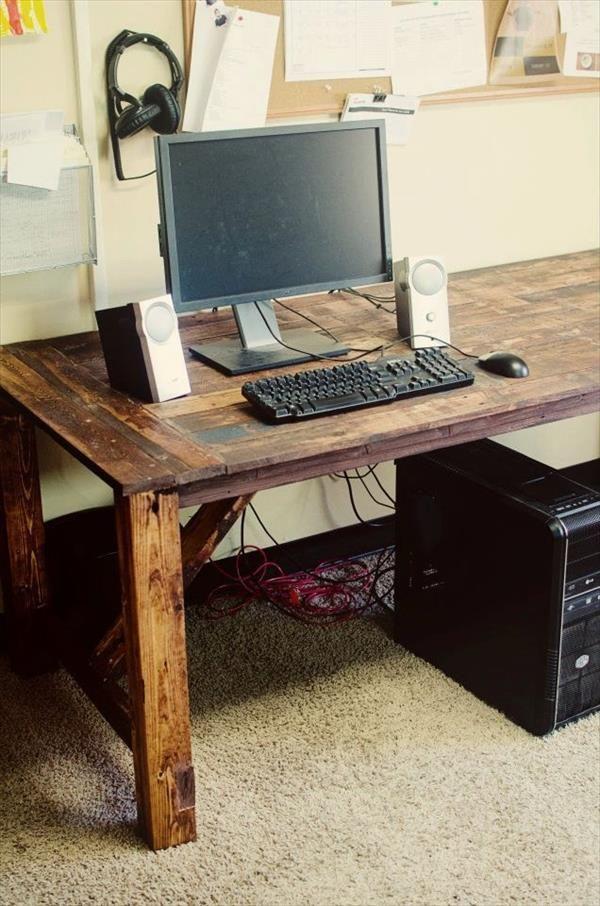 6 Diy Ingenious Pallet Desk Ideas 101 Pallets Pallet Desk Pallet Diy Wooden Pallet Furniture