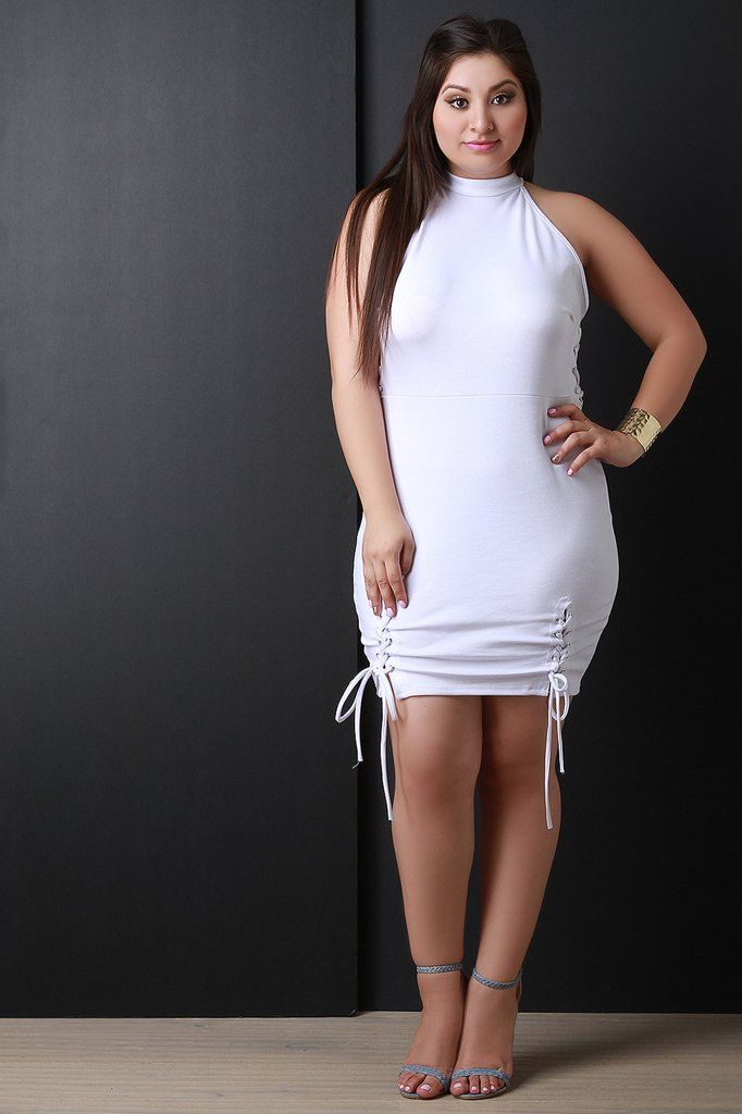 66fe42cb0d4 Mock Neck Corset Lace-Up Sleeveless Bodycon Mini Dress – Style Lavish White  Dresses For