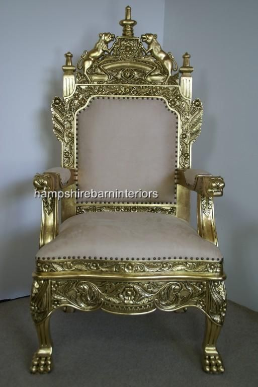 royal chairs for sale | The Tudor Royal Throne Chair In Gold and Cream |  Hampshire Barn . - Royal Chairs For Sale The Tudor Royal Throne Chair In Gold And