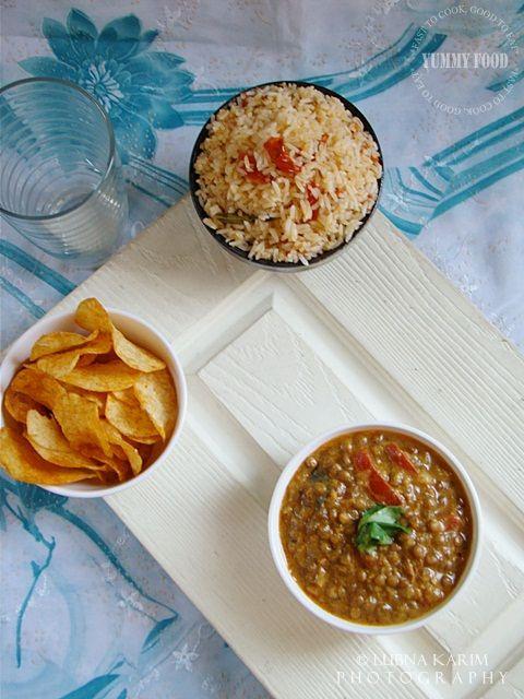 Masoor Makhani with Tomato Rice and Potato Chips - Ultimate Comfort Food.