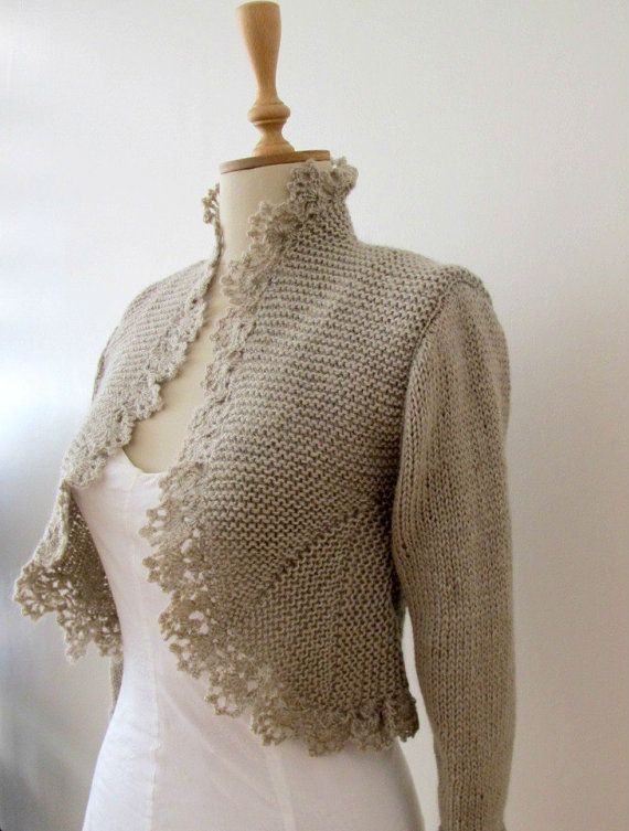 Hand Knit Sweater Knitting Knitted Cardigan Crochet Border Jacket 3/4 Sleeve ...