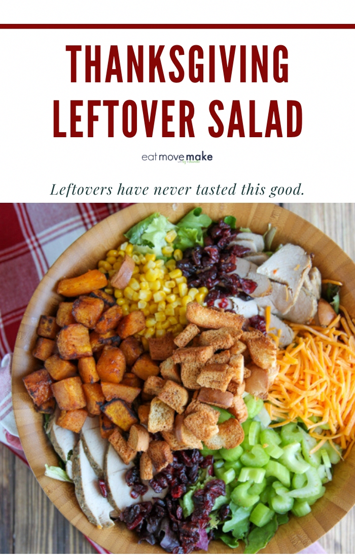 This Thanksgiving leftover salad is the perfect way to use up the mishmash of leftovers from Thanksgiving in a recipe that feels completely different from the big Thursday feast. It has all the flavors of Thanksgiving but it's a salad, so you'll feel great about eating lighter after having overindulged (oh, that's just me?) on the holiday itself. #ad #ourhome #makemoremerry #OurFoodLion #Thanksgiving #salad #leftoversrecipes #Thanksgivingleftovers #vegetablethanksgiving