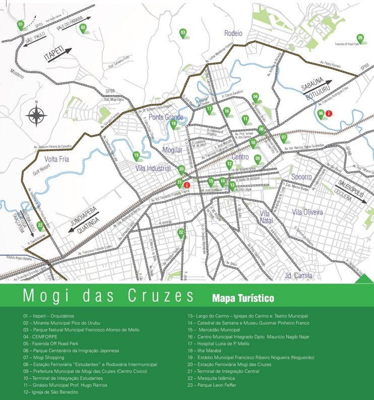 Mogi das Cruzes tourist map Maps Pinterest