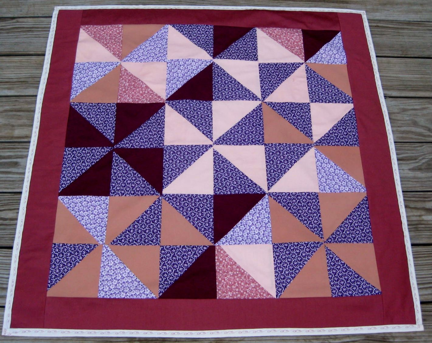 HST quilt pin wheel style, for charity.