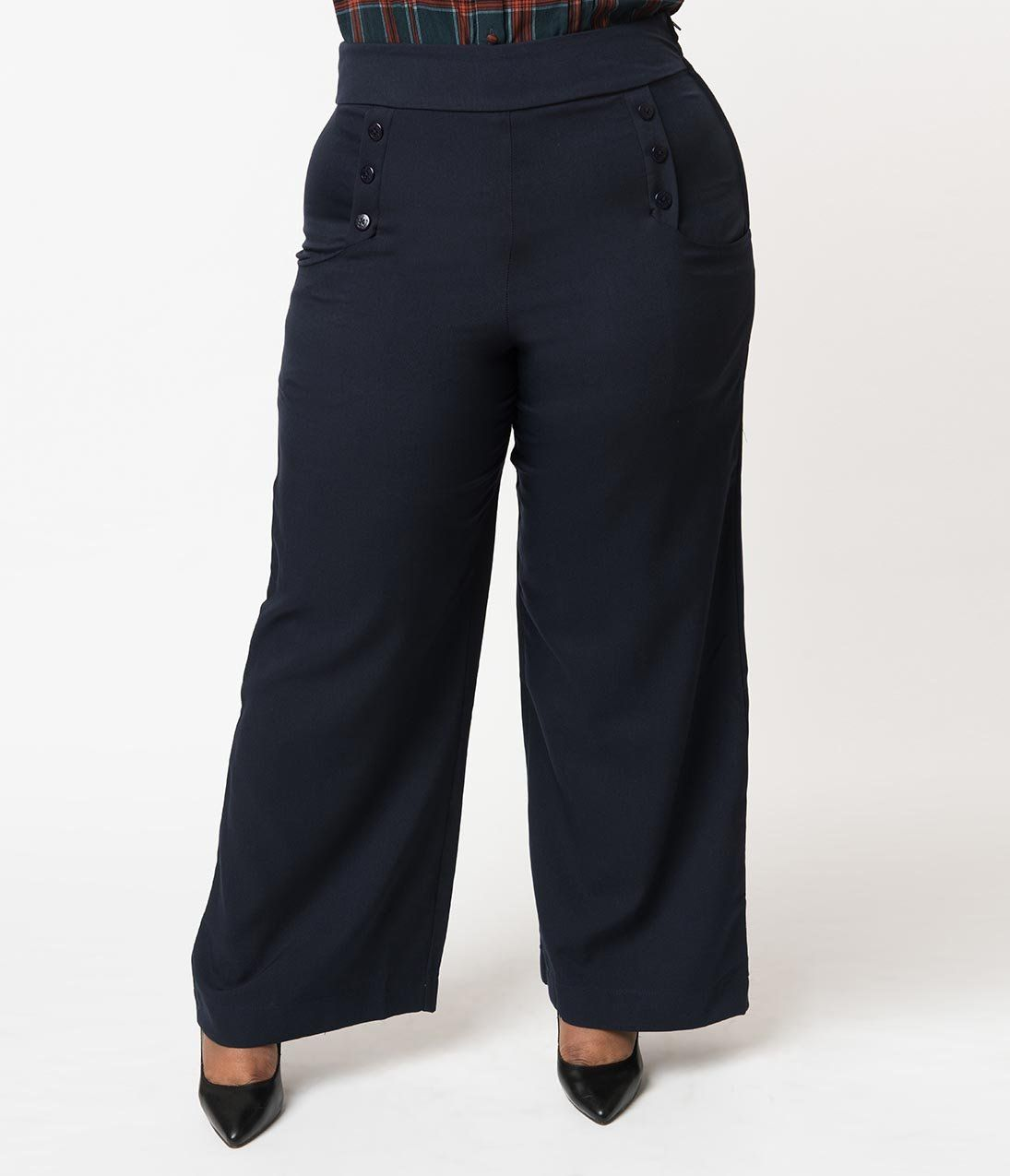 e68cbf2e9e883 Plus Size 1940s Style Moss Green High Waist Sailor Ginger Pants in ...