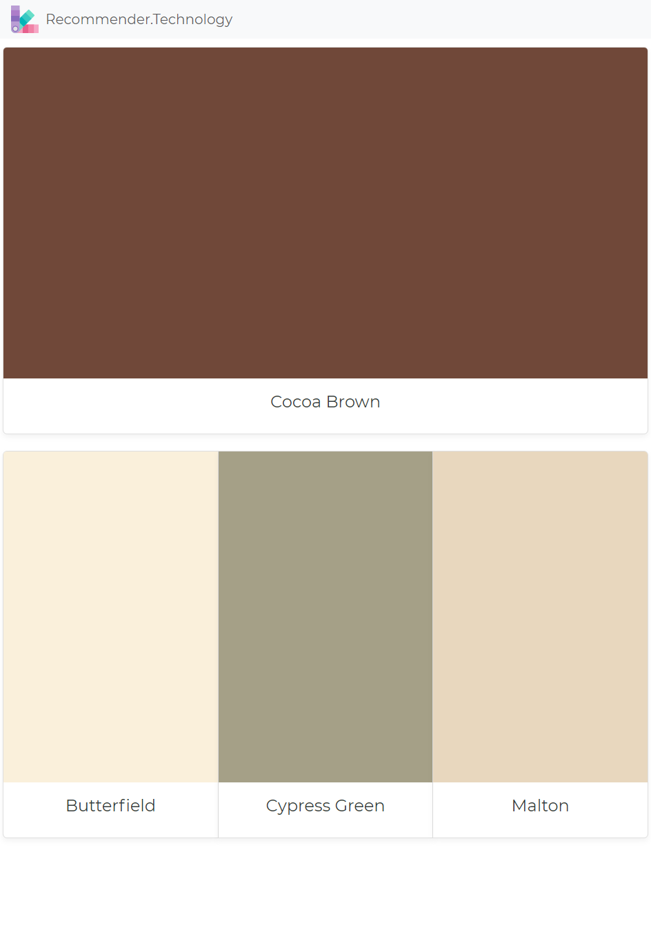Cocoa Brown Erfield Cypress Green Malton Paint Color Palettes Colors