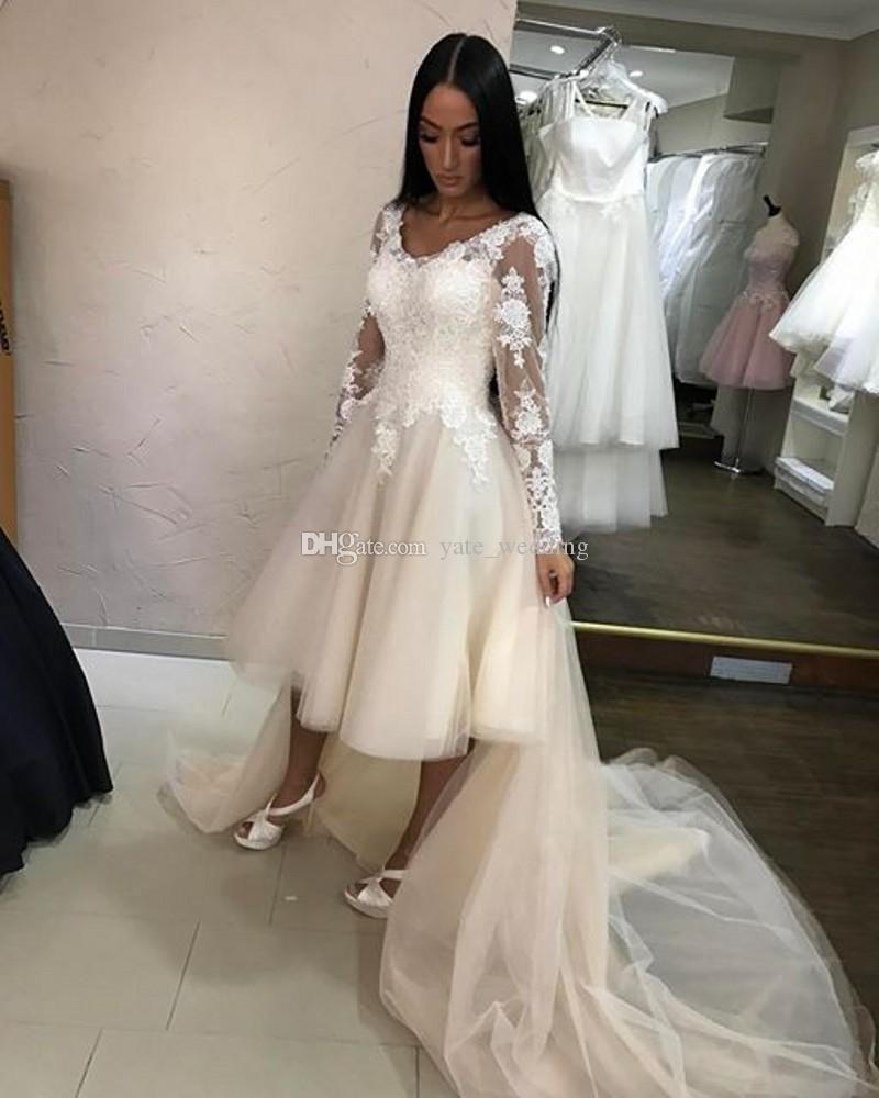 Cheap newest summer short wedding dresses v neck long sleeves