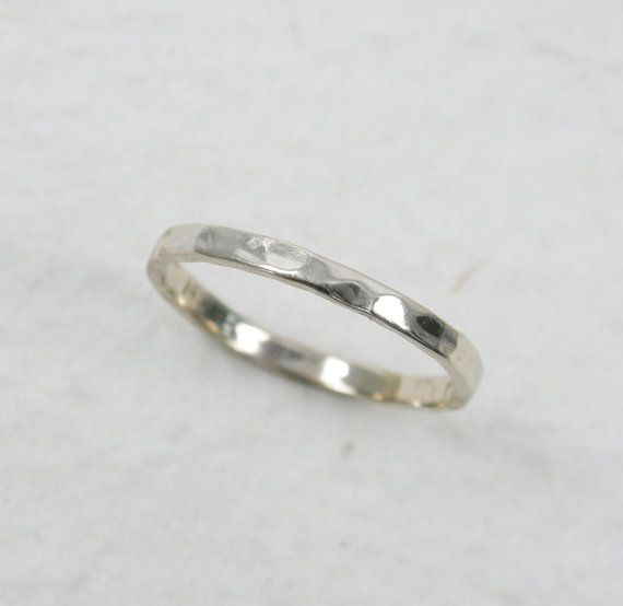 14k Withe Gold Hammered 2mm Wedding Band Delicate Hammered Etsy White Gold White Gold Wedding Bands Skinny Rings