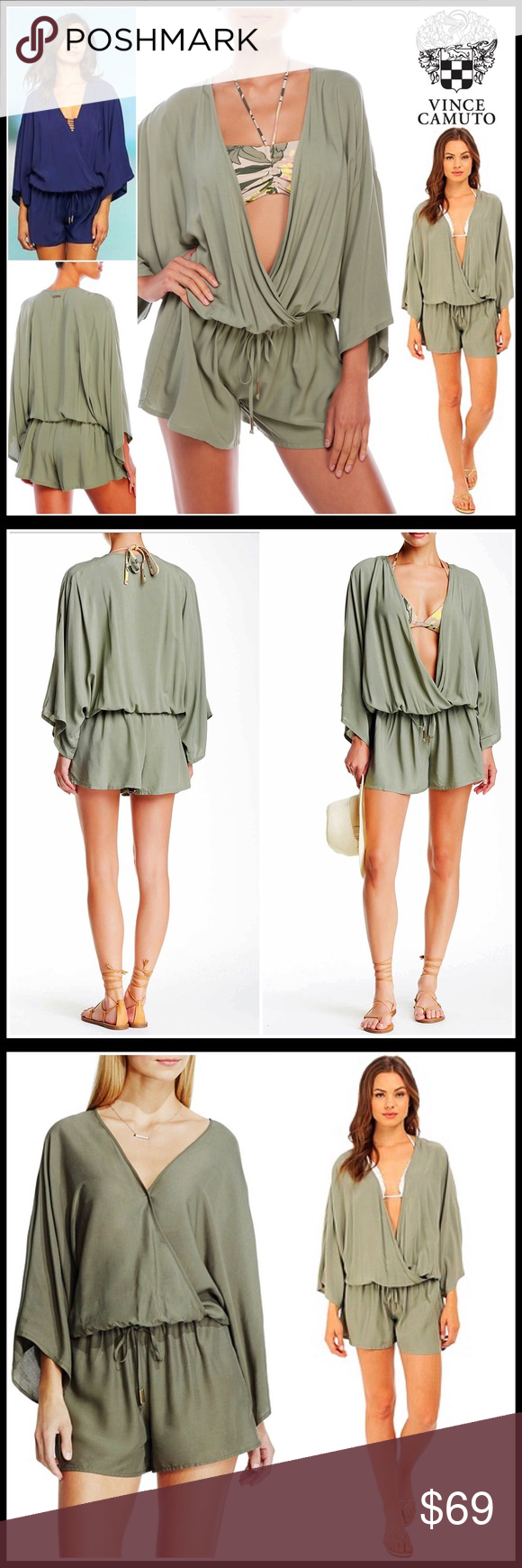 """⭐⭐ VINCE CAMUTO Resort Romper 💟NEW WITH TAGS💟  SIZING- M/L = approx sizes 8-12 VINCE CAMUTO Resort Romper  * Relaxed cover-up style  * Surplice neck, elasticized waist w/faux drawstring & long kimono sleeves   * Super comfortable style  * Approx 35"""" long;3.5"""" inseam  * Lightweight fabric    FABRIC-100% Viscose COLOR-Sage Item- # Pastel # Shirt dress jumpsuit  🚫No Trades🚫 ✅ Offers Considered*✅  *Please use the blue 'offer' button to submit an offer. Vince Camuto Dresses Mini"""