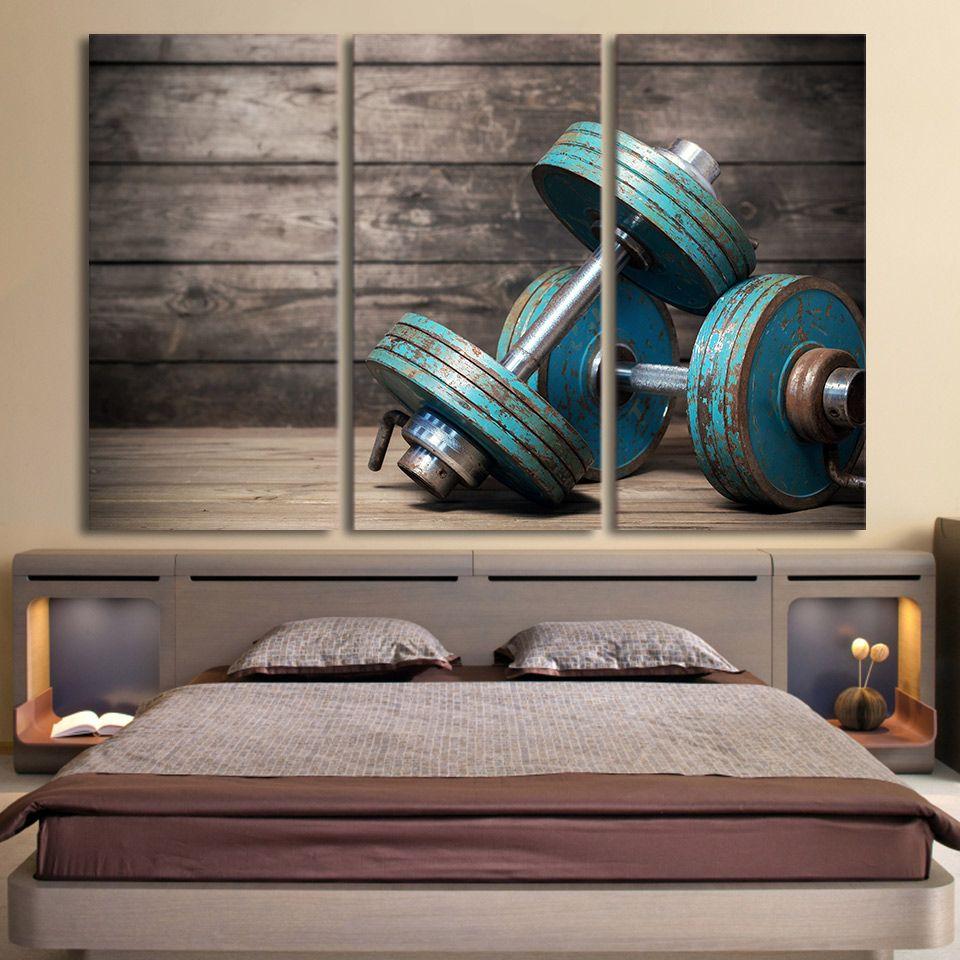 Hd print piece canvas art dumbbells fitness bodybuilding gym
