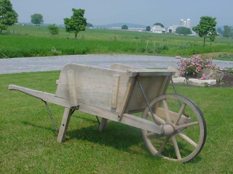 Old Fashioned Wooden Wheelbarrow For Sale