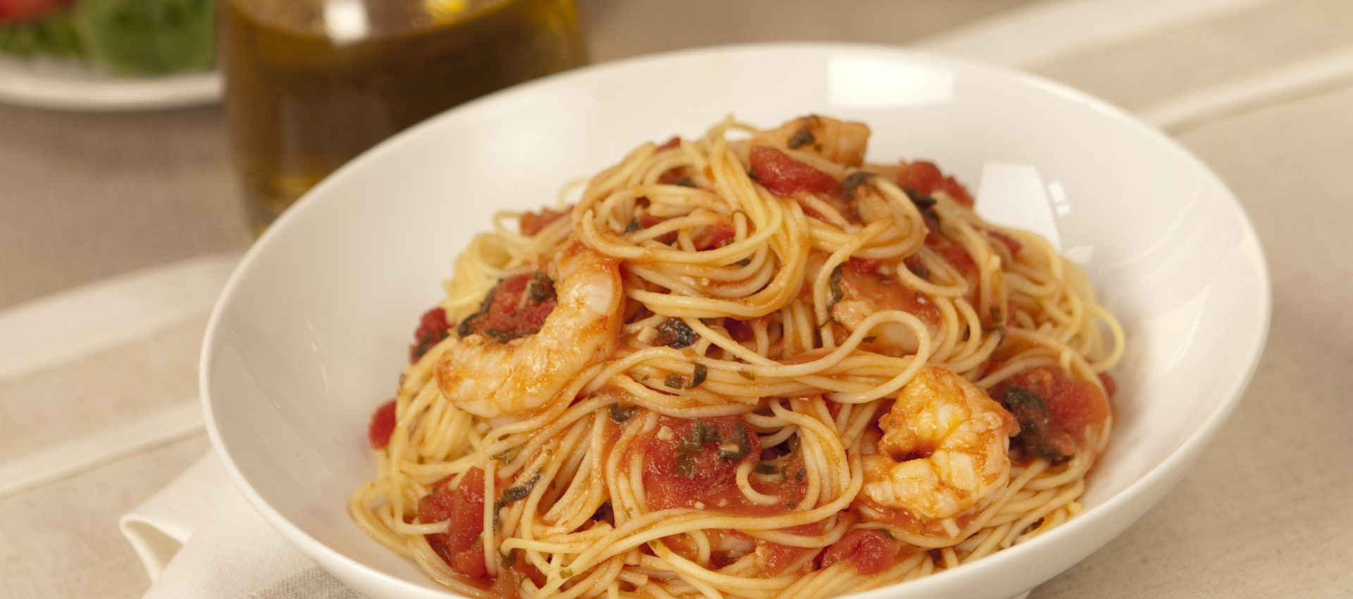 This recipe pairs shrimp with tomatoes and fresh basil to make a
