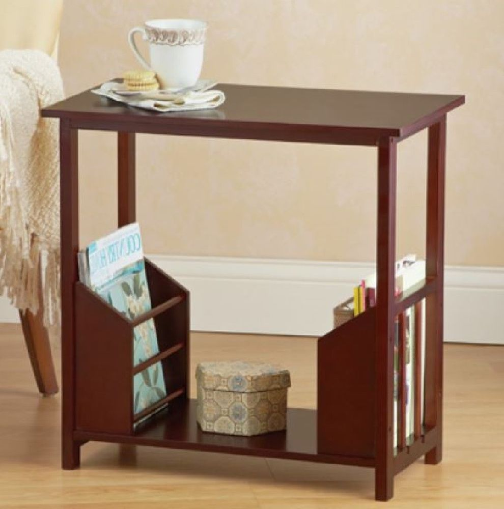 Narrow End Table Magazine Rack Easy Storage Sofa Chair Bed Home Furniture Deco Unbranded Country