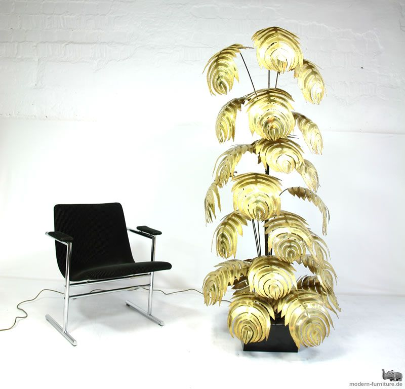 XXL MAISON JANSEN PALM-TREE BRASS FLOOR LAMP / palmenlampe ...
